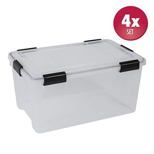4 Stück XL Lagerbox aus transparentem Kunststoff mit Dichtungsring im Deckel für Nässe, Staub und Schmutz. Maße ca. 59 x 38,5 x 29 cm. 50 Liter Volumen. TOP QUALITÄT!