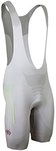 I-EXE Tech-Pad, Pantalone da Ciclismo Uomo, Bianco/Inserti in Verde, S