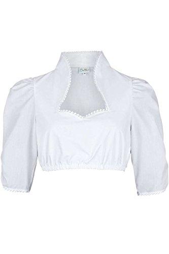 Trachten Stoiber Damen Dirndl Bluse halbarm mit Stehkragen weiß, Weiß, 40