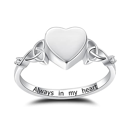 JXJL Celtic Heart Cremation Urn Ring Holds Loved One's Ashes S925 Sterling Silver Memorial Keepsake Jewelry for Humans/Pets Ashes