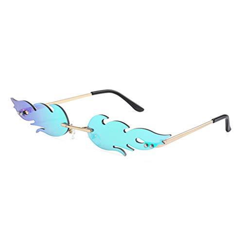 NUOBESTY - Gafas de fuego (1 x 16 x 14 x 2 Gafas de sol de 7 cm, sin marco, para mujeres, hombres, gafas de sol de fiesta, de metal, sin marco, color rojo verde verde 16 * 14 cm