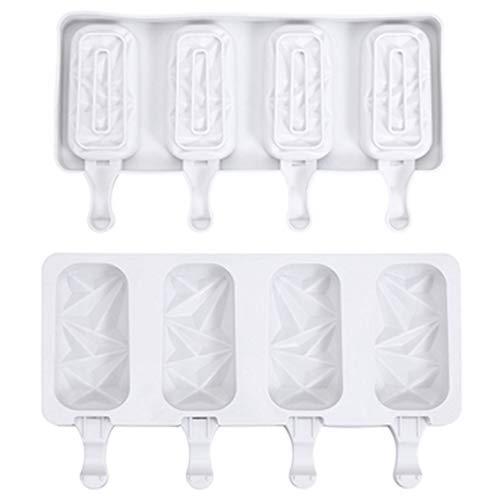 Wenxu 4 moldes para helado, molde de silicona avanzado, creativo para helado, palillo de helado de chocolate, bandeja de paletas de postre congelado, para niños y adultos, fácil de limpiar