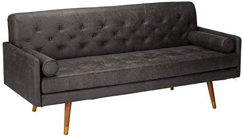 Truda Mid Century Modern Microfiber Sofa with Button Accents, Slate
