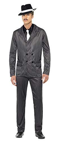 Smiffy'S 23687L Disfraz De Gnster Chaqueta De Raya Diplomtica Y Pantalones, Pechera De Camisa Y Corbata, Negro, L - Tamao 42'-44'