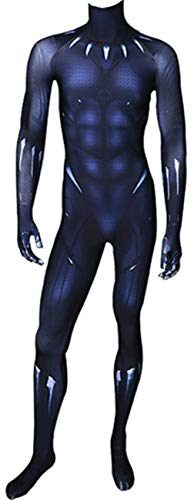 Surejoymall Black Panther Costume Spandex Lycra Halloween Cosplay Fullbody Zentai Bodysuit for Adults and Kids (Kids-X-Large)
