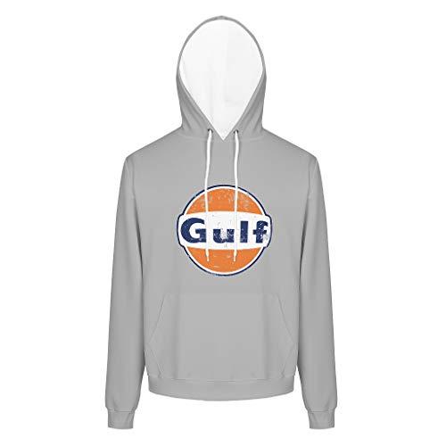 XJJ88 Fleece-Hoodies Gulf Racing Retro Herren Kälteschutz Übergröße Taschen Pullover Gulf White 6 4XL
