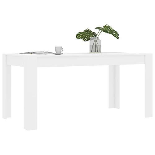 WooDlan Mesa Comedor, Color Blanco Brillante, Medidas: 160 cm (Largo) x 80 cm (Ancho) x 76 cm (Alto)