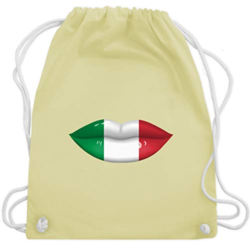 Shirtracer Länder - Lippen Bodypaint Italien - Unisize - Pastell Gelb - patriotisch - WM110 -...