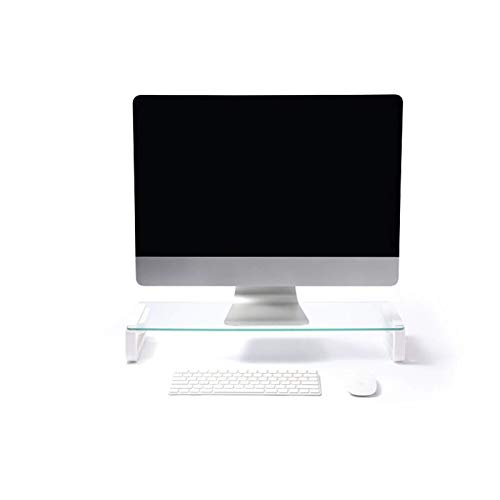 Monitor Stand Riser USB 3.0 Monitor Stand Holder Laptop Stand Transparent Glass Display Bracket Computer Desktop Dual Riser Stand For Computer PC Monitor And Laptops
