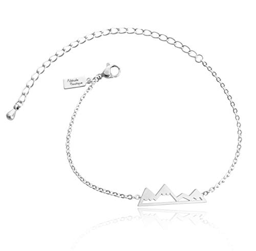 Altitude Boutique Mountain Bracelet, Mountain Jewelry, Snowy Peaks Bracelet for Nature Lovers, Skiers, Hikers, Campers (Silver)