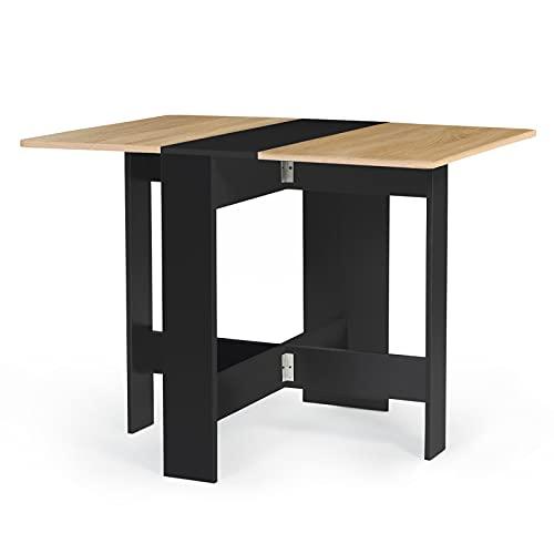 IDMarket - Table Console Pliable EDI 2-4 Personnes Bois Noir Plateau façon hêtre