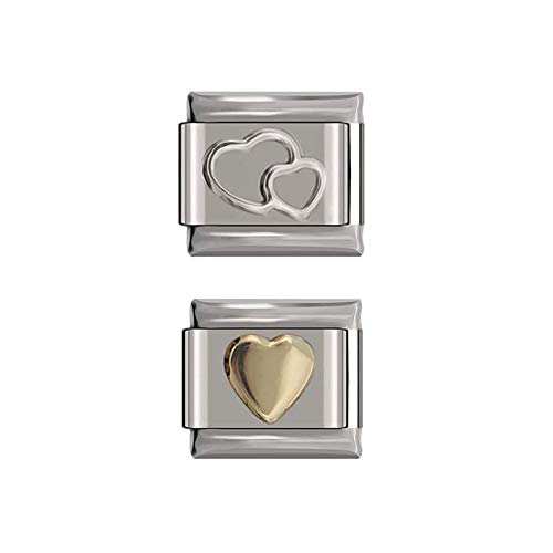 Bundle Deals for Double Heart Italian Charm and Solid Heart Italian Charms link - fits all Quality Classic 9mm Italian Style Charms | UK Stock