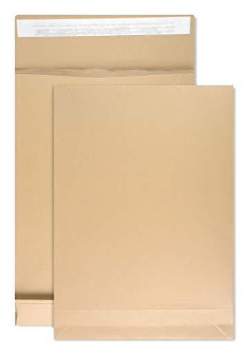 50x braune Faltentasche DIN C4 229× 324 mm 130g braun Umschlag erweiterbar Faltenversandtasche C4 ohne Fenster große Versandtasche mit Stehboden Umschlagtasche Braun Briefhülle C4 mit Falte