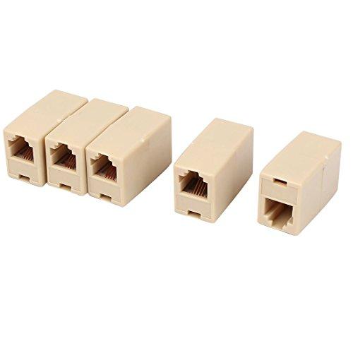 YeVhear RJ11 6P4C - Conector de cable para teléfono fijo (5 unidades), color beige