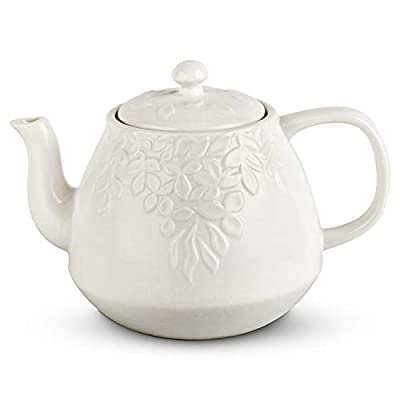 Toptier Leaf Teapot, Porcelain Tea Pot with Stainless Steel Infuser, Blooming & Loose Leaf Teapot, 37 Ounce, White