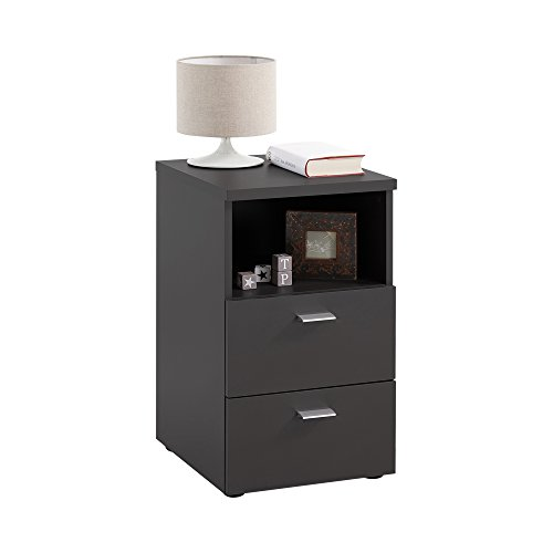 FMD furniture 652-001E, Nachtkonsole in Ausführung Schwarz, Maße ca. 35 x 61,5 x 40 cm (BHT), Melaminharz beschichtete Spanplatte
