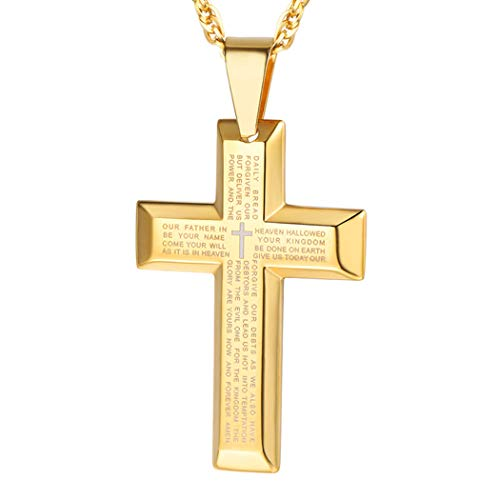 PROSTEEL Men Cross Necklace Gold Plated Statement Crucifix Pendant with Chain Golden