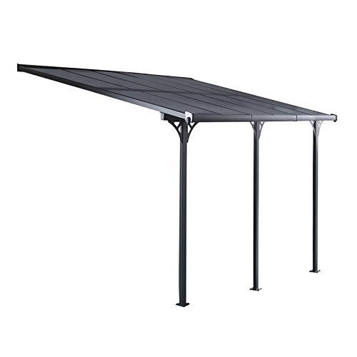 Gardiun KIS13015 - Gazebo Pergola a Parete Elliot - 15 m² 495x300x225/270 cm Alluminio e Policarbonato