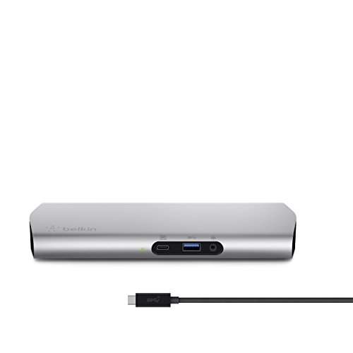Belkin F4U093vf Express Dock HD USB-C Desktop Docking Station for Macbook/Macbook Pro (Single Cable Hub for 8 Devices, Delivery Charger, 4K Compatible, HDMI, USB-C 3.1 Cable Included) - Silver