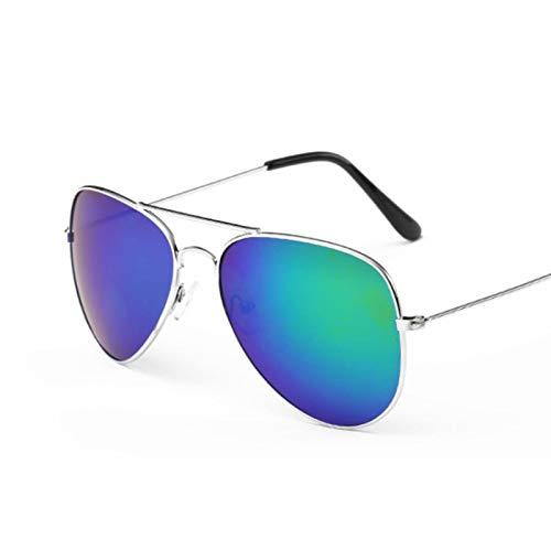 ShZyywrl Gafas De Sol De Moda Unisex Gafas De Sol De Piloto Vintage para Mujer, Gafas De Sol Negras Clásicas Retro, Gafas De Diseñador para Mujer, Silvergreen