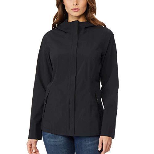 32 DEGREES Women's Hooded Waterproof Raincoat Black (Small, Black)