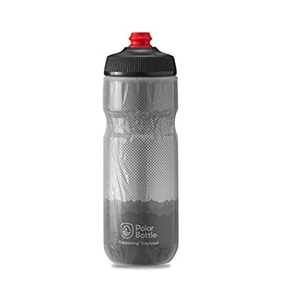 Polar Bottle Breakaway Insulated Bike Water Bottle - BPA Free, Cycling & Sports Squeeze Bottle (Ridge - Charcoal & Silver, 20 oz)