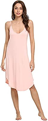 GYS Women's Sleep Chemise Scoop Neck Full Slip, Pink, Small
