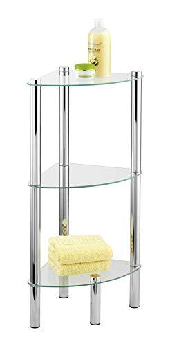 WENKO Eckregal Yago mit 3 Glasablagen - Badregal, Stahl, 30 x 74 x 30 cm, Chrom
