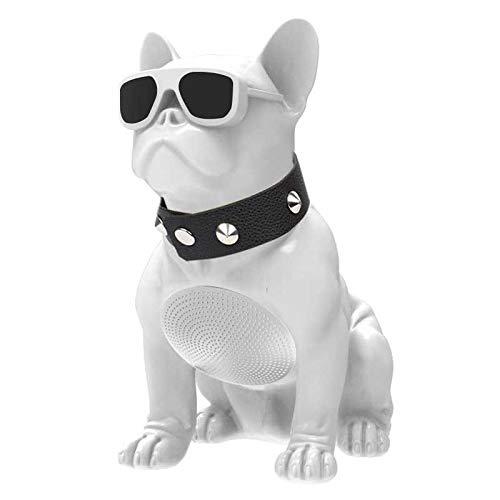 Lautsprecher für Hunde, Bulldogge, kabellos, Bluetooth, SD-Karte, Pendrive, FM-Radio, MP3-Player, kleine Größe (weiß)