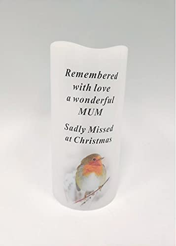 Mum Memorial LED Light Up Christmas Candle - Robin Candle Graveside Memory Remembrance