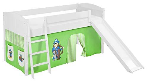 Lit surélevé ludique IDA 4106 90x200 cm Pirate vert beige - Lit surélevé évolutif LILOKIDS - blanc laqué - avec toboggan et rideaux