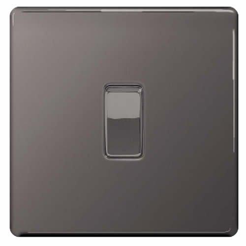 BG, Elektrischer 2-Wege-Einfachschalter aus perlglanzvernickeltem Metall schwarz Nickel