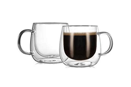 CnGlass Double Walled Glass Coffee Mugs 10oz,Large Insulated Glass Espresso Mugs,Set of 2 Clear Glasses Cappuccino Mug with Handle(Tea Latte Glassware)