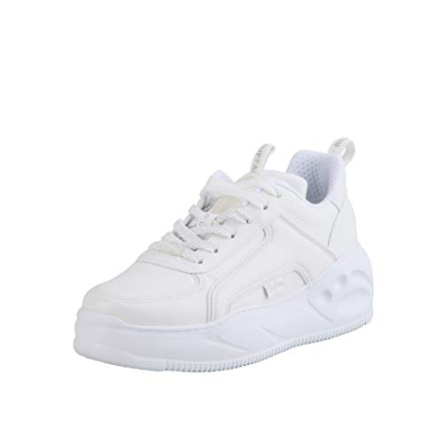 Buffalo Damen Sneaker Flat SMPL, Frauen Low Top Sneaker, Halbschuh strassenschuh schnürschuh sportschuh Plateau-Sohle,Weiß(White),40 EU / 6.5 UK