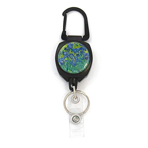 Buttonsmith Van Gogh Irises Sidekick Retractable Badge Reel - Extra Heavy Duty - Carabiner and Key Ring - Made in The USA
