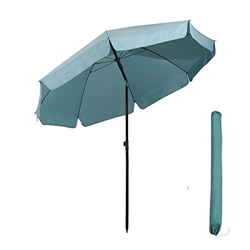 Sekey® Sonnenschirm 240 cm Marktschirm Gartenschirm Terrassenschirm Blau Rund Sonnenschutz UV25+