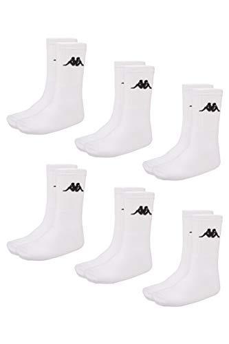 Kappa VEGRIT Sportsocken Unisex | ideal auch als Wandersocken | Damen- und Herren Socken für Sport und Freizeit | atmungsaktiver Baumwoll-Polyester-Elasthan Mix | 6er Pack, weiß, Größe 39-42