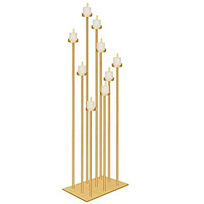 smtyle DIY 9 Candelabra Floor 42 inch Tall Candle Holders Centerpiece for Wedding Decor Using Tealight Set Large with Gold Iron