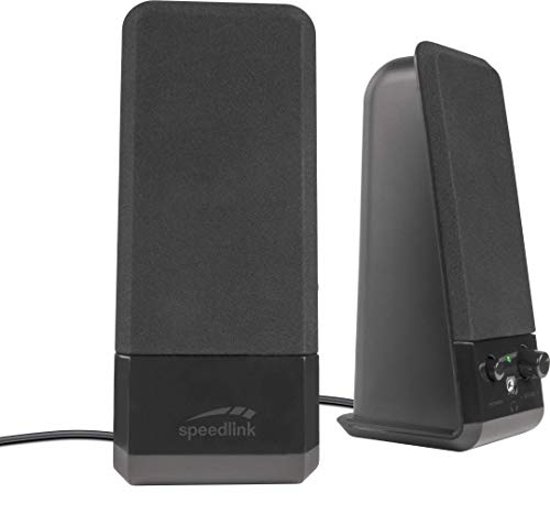 Speedlink EVENT Stereo Speakers - Lautsprecher mit Klinkenstecker für Büro/Home Office/PC/Notebook, schwarz