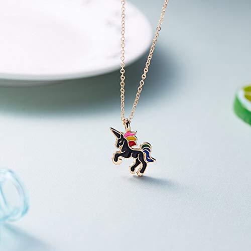 CGAYG Neue Halskette Für Mädchen Kinder Kinder Emaille Cartoon Pferd schmuck zubehör Frauen Tier Halskette Anhänger Party Girl Geschenke Schwarz