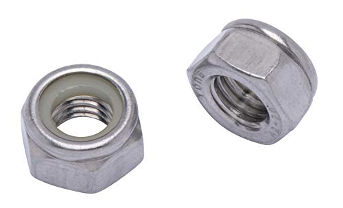 M8-1.25 Metric Stainless Lock Hex Nut, (100 Pack), 304 (18-8) Stainless Steel Lock Nuts, DIN 985, by Bolt Dropper