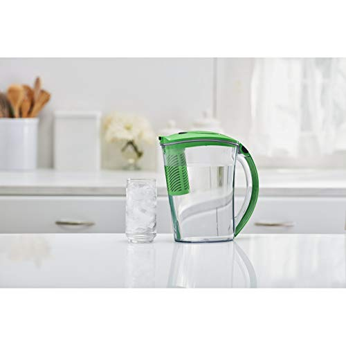 Brita 10 Cup Stream Filter-As-You-Pour Water Pitcher with 1 Filter, Rapids, BPA Free, Island Green