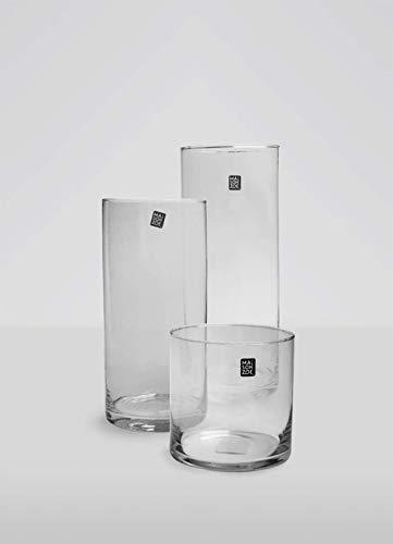 Maison Zoe Mundgeblasene und Handgefertigte Glasvase Zylinder - Rund Ø15cm - 20cm hoch - Blumenvase - Deko & Hochzeit