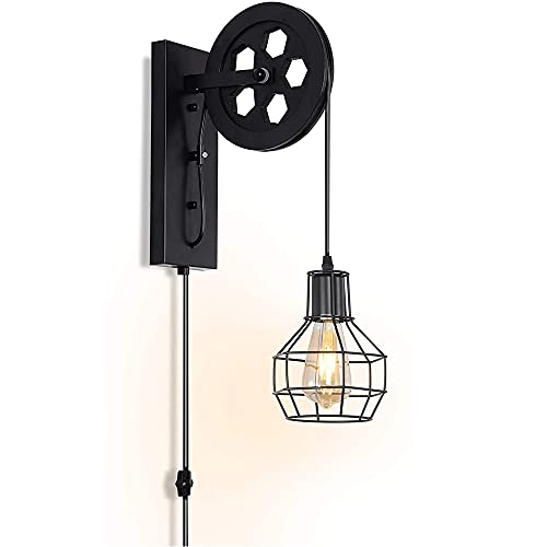 XXHH WDH-00 Tipo De Pared Industrial Soporte De Vela De Pared E27 Base con Interruptor De Intensidad De Luz De Pared Enchufable (Negro) (Bulbo No Incluido)
