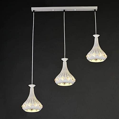 Plafondlamp, moderne 3 vlammen kristal opknoping lamp creatieve witte ijzer restaurant persoonlijkheid opengewerkte woonkamer slaapkamer de studie balkon decoratie kroonluchter