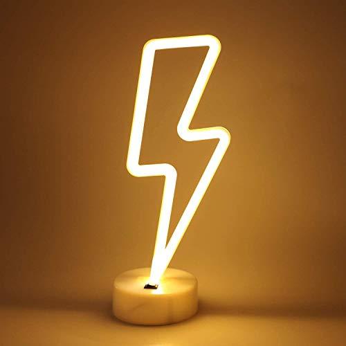 Neon segni della luce LED segni al neon fulmine lampade Decor batteria/USB alimentato Night Lights con piedistallo luce per Natale, festa di compleanno, soggiorno, camera da letto, tavolo per bambini