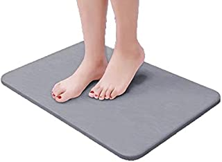LoveInTheHouse Bath Shower Mats- Absorbent Diatomaceous Earth, Great Water Absorption, Non-Slip, Easy to Clean, Eco-Friendly, Durable, Safe for Bathroom Floor (Large Dark Grey)