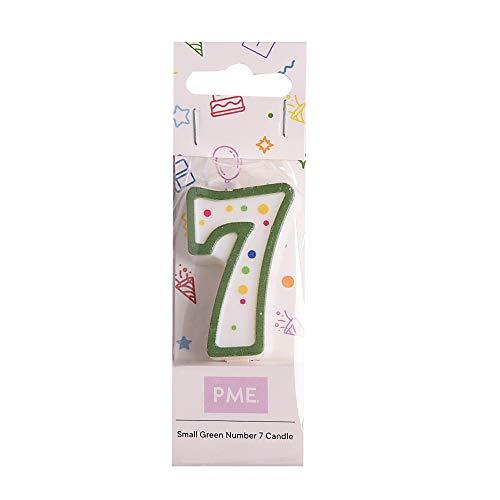 PME CA057 Candela Numero 7 Piccola, Cera, Verde, 4.3 cm