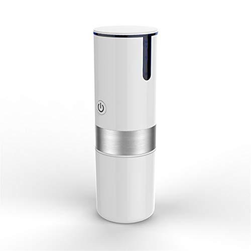 ALOMIN Portable Ekspres do kawy Kompatybilny z kapsułką i ziemią przenośną ekspresem do kawy napędzaną baterią Coffee grinder (Color : White)