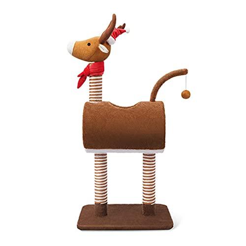 Albero per gatti alce di Natale, torre da arrampicata per gatti con tunnel e tiragraffi per gatti, letto condominiale per gatti da interni (tema natalizio)